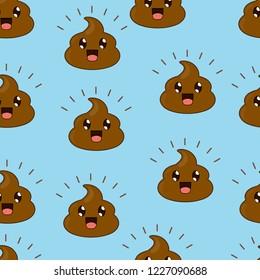 funny smile vector poop pattern