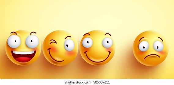 Funny smileys vector faces with happy smile with separated one unhappy and sad in yellow background. Vector illustration.