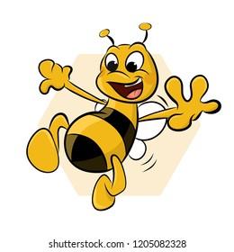 Funny smiling bee. Cartoon Vector Illustration.