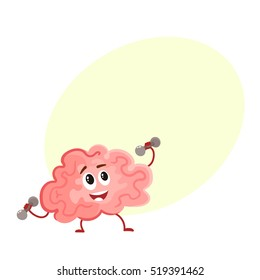 Funny smiling brain training with dumbbells, cartoon vector illustration on yellow background for text. Cute brain character lifting weights as a symbol of education, training and development