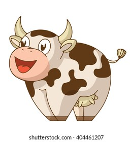 Funny smiling cow. Bright vector illustration good for packaging design and for design products for kids.