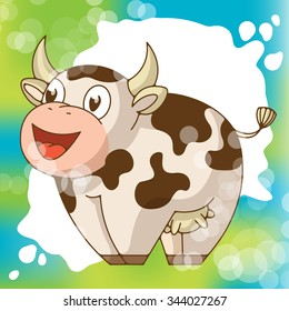 Funny smiling cow wits a milk splash on the background. Bright vector illustration good for packaging design and for design products for kids.