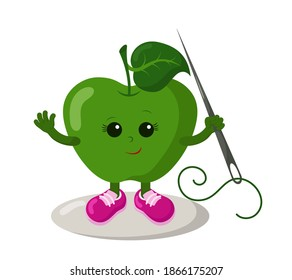 Funny smiling cute kawaii apple with sneakers holding sewing needle. Colored isolated vector illustration in flat design with shadows