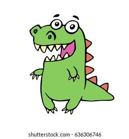 Funny smiling dinosaur. Vector illustration. Cute cartoon character.