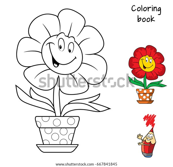 Funny Smiling Flower Flowerpot Coloring Book Stock Vector Royalty
