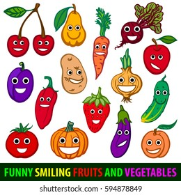 Funny smiling fruits and vegetables. Set flat vector images.