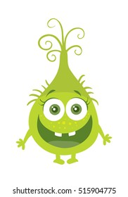Funny smiling germ. Green cartoon character with big eyes. Happy monster with tooth. Bacteria with hands and open mouth. Vector funny illustration in flat style design. Friendly virus. Microbe face