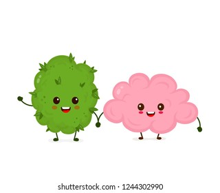 Funny smiling happy marijuana weed bud and brain.Vector flat cartoon character illustration icon design.Isolated on white background.Marijuana,brain,mental medical and recreation cannabis concept
