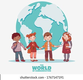 Funny, smiling kids. Boys and girls holding hands. Children becoming friends. Back to school vector concept. Happy boys and girls with books