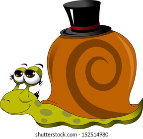 funny snail in a black hat, vector illustration