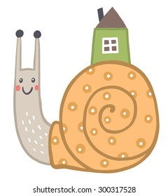 funny snail. character in the style of children