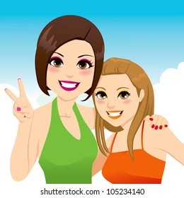 Funny snapshot portrait illustration of two beautiful best friends girls posing together