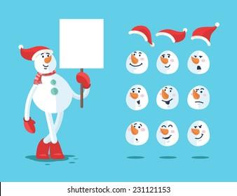Funny snowman. Cartoon vector set. eps 10