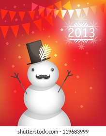 Funny Snowman celebrates the New Year 2013 (vector illustration)