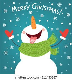 Funny snowman enjoying the snowflakes. Christmas card illustration