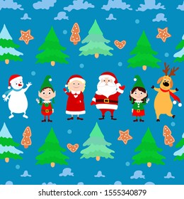 Funny snowman, Santa Claus, Mrs. Santa, elves, dancing deer, spruce, gingerbread cookie and clouds on a blue background. Christmas vector seamless pattern for design of packages, backgrounds.