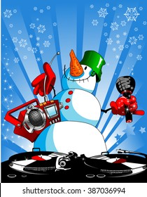 funny snowman with a tape recorder and a microphone, vector