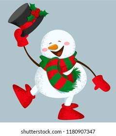 Funny snowman, vector illustration