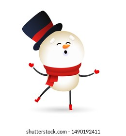 Funny snowman wearing black hat and red scarf. Cute snow man singing and dancing. Christmas concept. Realistic vector illustration for winter holidays, presents, festive event