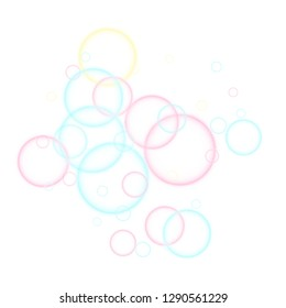 Funny soap bubbles isolated on white background. Pink blue and yellow blurred rings. Kids bubbles for play. Tender minimalist vector backdrop. Childish magic flying sheres.