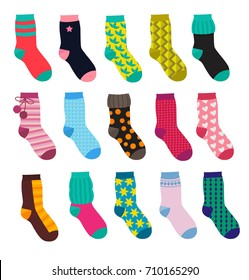 Funny socks with different patterns. Vector illustrations set in cartoon style. Collection of socks cotton textile and warm wool