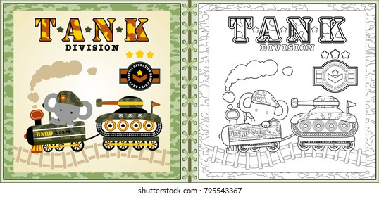 funny soldier cartoon vector with armored vehicle, coloring page or book