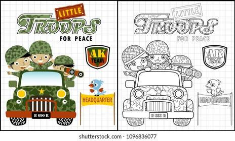 funny soldiers on truck, coloring book or page, vector cartoon illustration