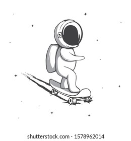 Funny spaceman rides on skateboard