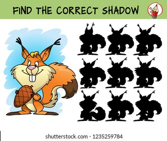 Funny squirrel with a cone. Find the correct shadow. Educational matching game for children. Cartoon vector illustration