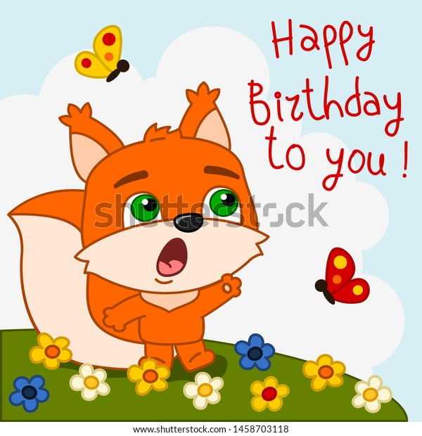 Funny Squirrel Singing Song Happy Birthday Stock Vector