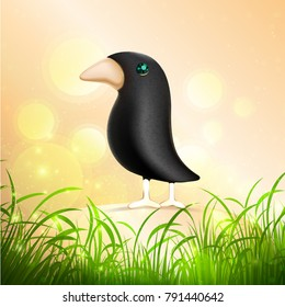 Funny standing birds on art background. Vector jewelry bird character. Art spring background.