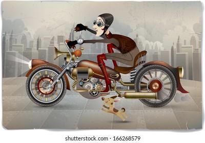 Funny steam-punk lady on a bike