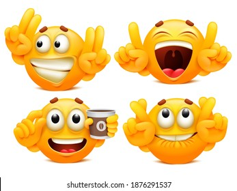Funny stickers. Set of four yellow cartoon emoji charaters in various situations. Emoticon collection. Vector illustration