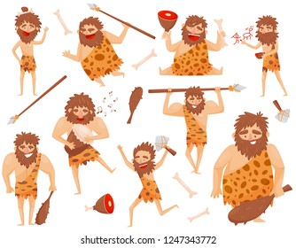 Funny stone age prehistoric man in different situations set, primitive cavemen cartoon character vector Illustration isolated on a white background