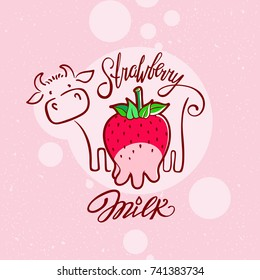 Funny Strawberry Milk illustration. Red sweet berry with udder of a cow.