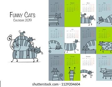 Funny striped cats. Design calendar 2018