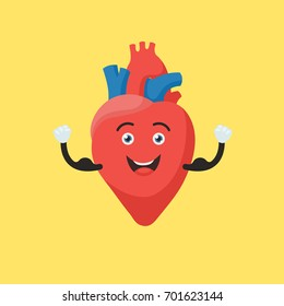 Funny strong heart character. Cute human internal organ sign. Vector illustration in cartoon style