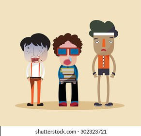Funny stylish cartoon characters of a nerd, ugly jerk, and cheap looking bully young children standing together as group of friends in fashionable clothes, create by vector