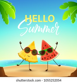 Funny summer banner with fruit characters. Vector illustration of cartoon watermelon and pineapple characters tropical beach. Color banner with lettering.