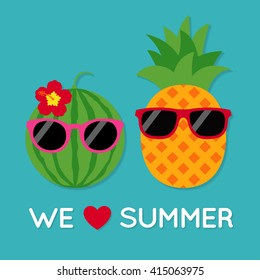 Funny summer illustration with cute watermelon and pineapple cartoon character. Summer holiday concept cartoon vector.