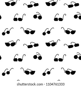 Funny summer pattern with sunglasses, seamless vector design