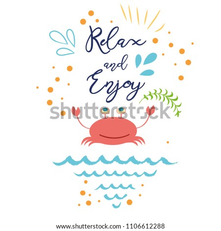 Funny Summer Quote Relax Enjoy Hand Stock Vector Royalty Free