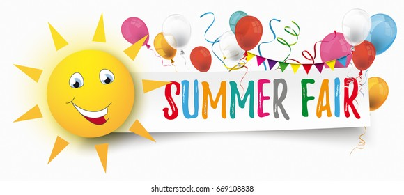 Funny sun face with paper banner, balloons and text Summer Fair. Eps 10 vector file.