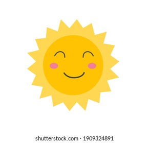 Funny sun icon illustration isolated on white background. Flat style. Vector template