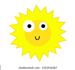 Funny sun on a white background. Vector illustration.