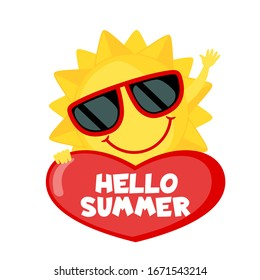 Funny Sun with sunglasses and heart isolated on white background. Smiling cartoon sun. Icon in flat style. Hello summer. Vector illustration.
