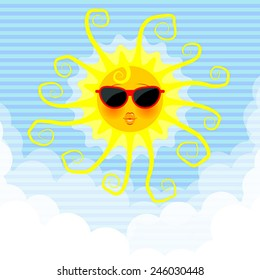 Funny sun with sunglasses and rays in the sky, and clouds at the bottom