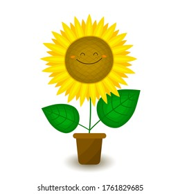 Funny sunflower in a pot. Decorative smiling plant. Vector illustration in cartoon style. For the design of books, covers, fabrics, children's textiles, wrapping paper, cards.