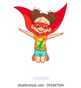 Funny super girl jumping, hands outstretched to the sides like an airplane wings. Comics kid in super hero costume with a red mask on his face and with tied around the neck red cape. Vector art.