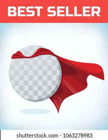 Funny super hero flying with cloak. Masquerade costume. Carnival or Halloween Cartoon Vector illustration.